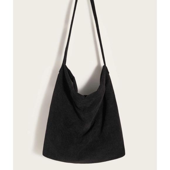 SHEIN Handbags - 🆕Black Corduroy Shoulder Bag Tote NWOT SHEIN